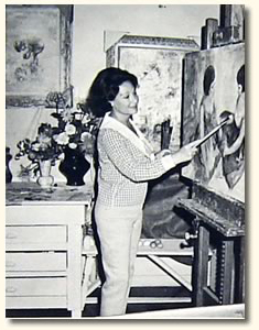 Claretta Painting in Her Studio